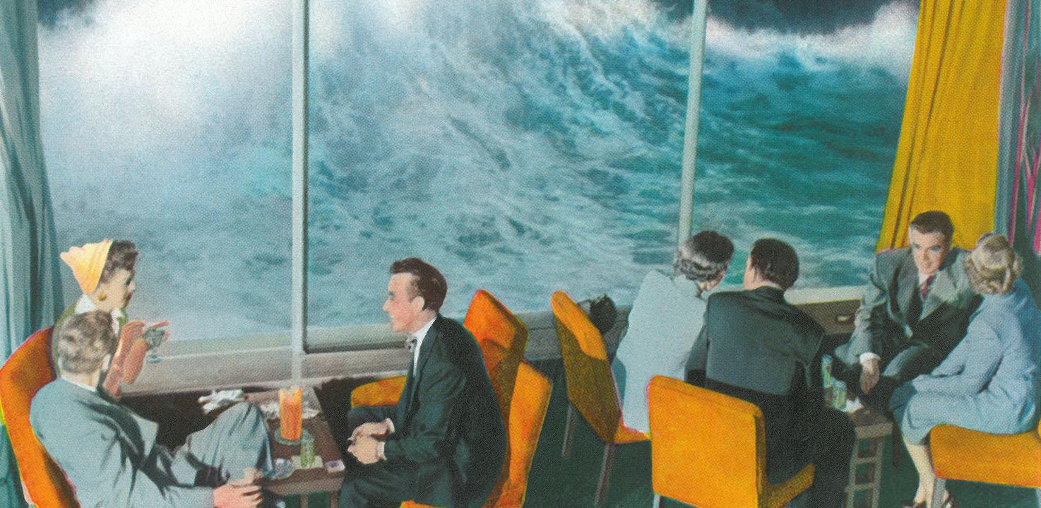 Unusually high tide at the Marine Room restaurant, La Jolla, California, c1954.Class San Diego