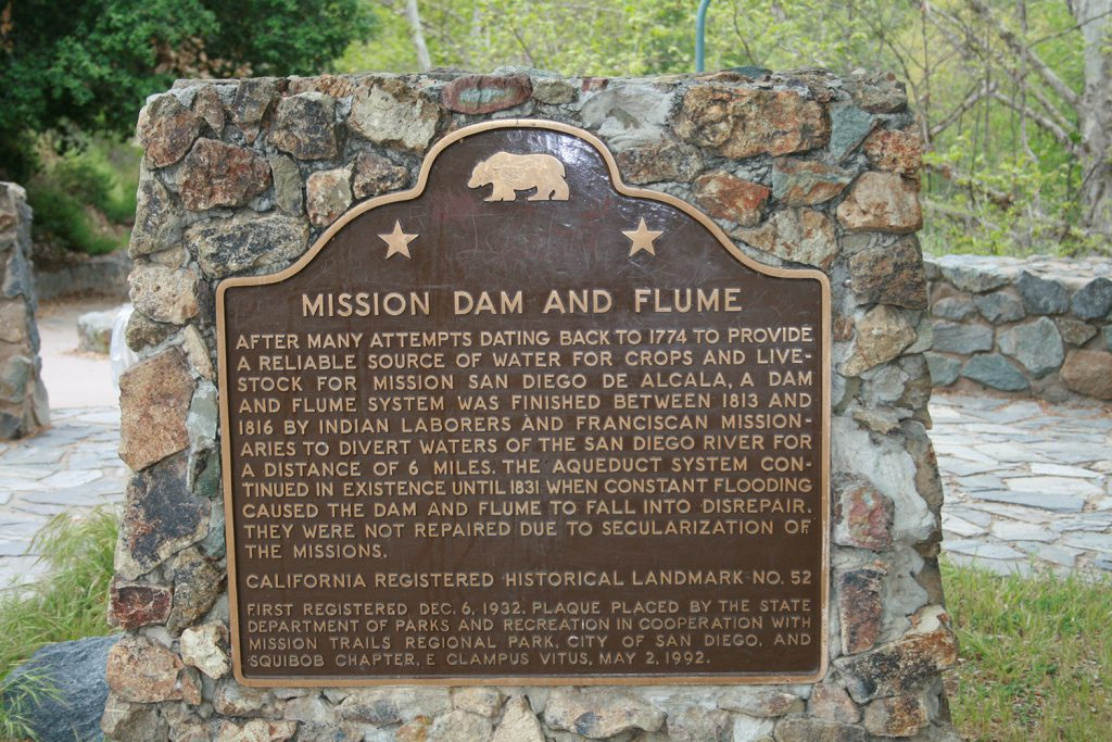 Old Mission Dam and Flume sign