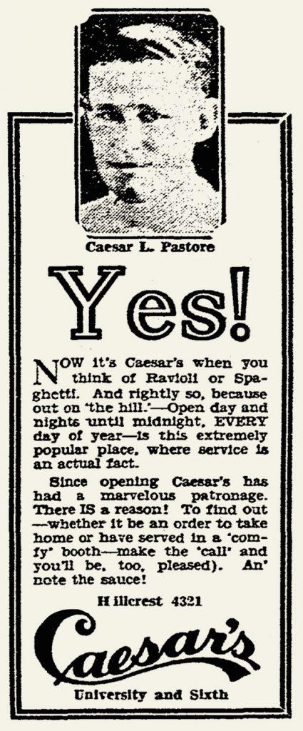 Caesar's Hillcrest ad
