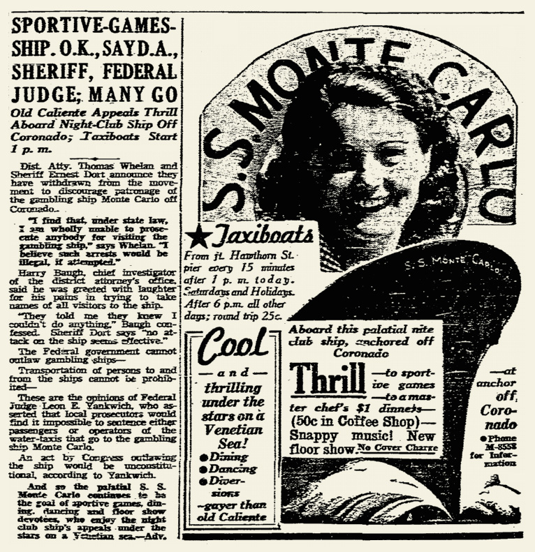 SS Monte Carlo newspaper advertorial