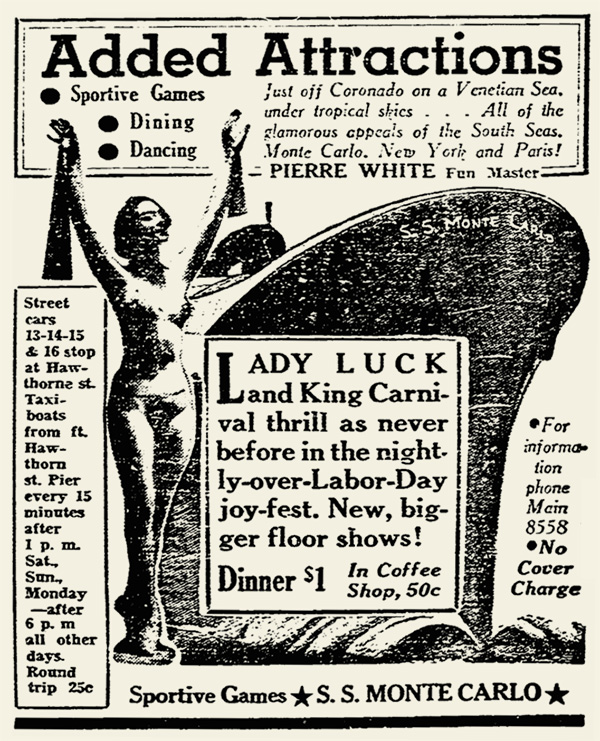 SS Monte Carlo newspaper ad