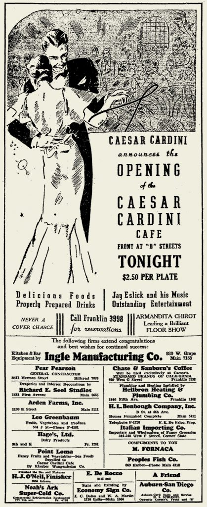 1936 Caesar Cardini Cafe San Diego restaurant grand opening ad