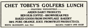 San Diego's Oldest Restaurants - Chet Tobeys 19th Hole Cafe ad, 1936