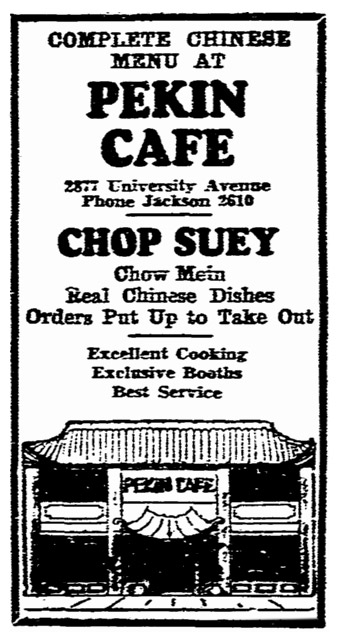San Diego's Oldest Restaurants - Pekin Cafe San Diego, ad, 1938