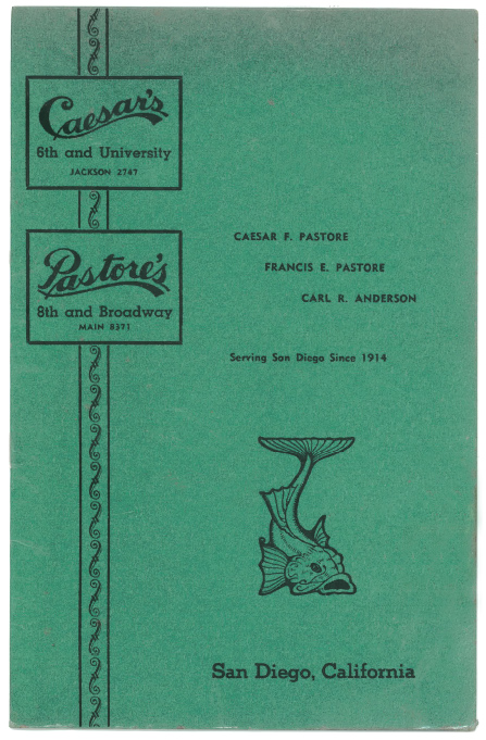 1940 Caesar's Pastore's menu cover