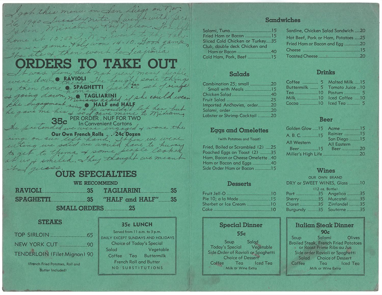 1940 Caesar's Pastore's menu interior