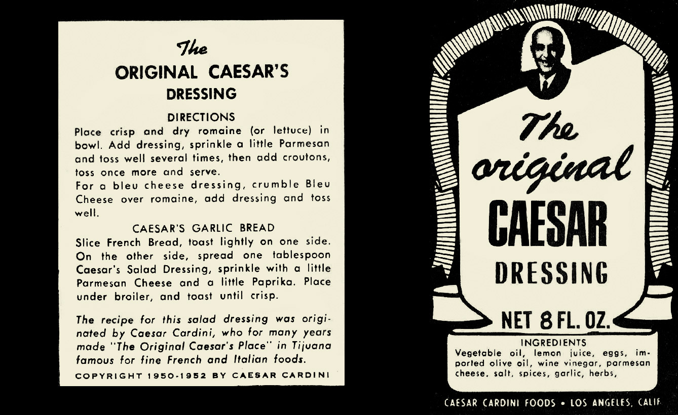 Original Caesar Cardini salad dressing label