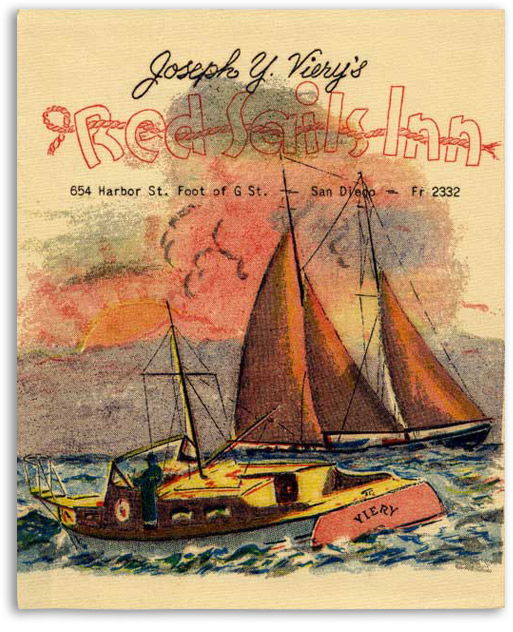 Red Sails Inn menu cover c1935