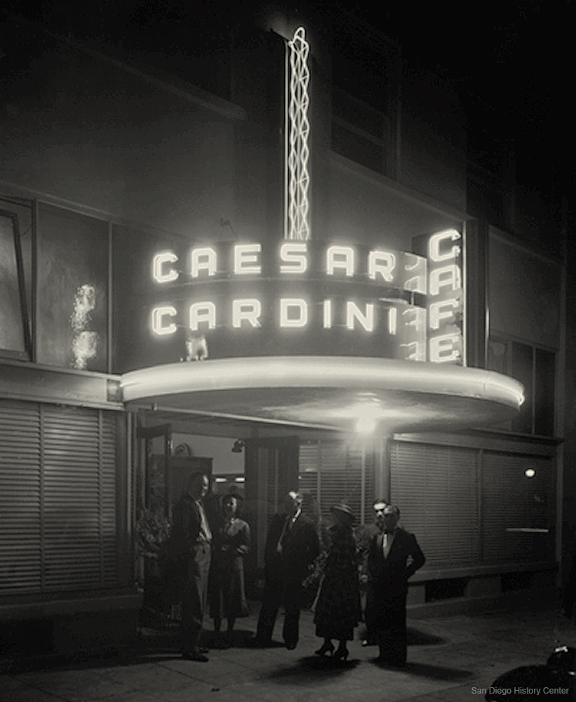Caesar Cardini Cafe on opening night, San Diego, 1936