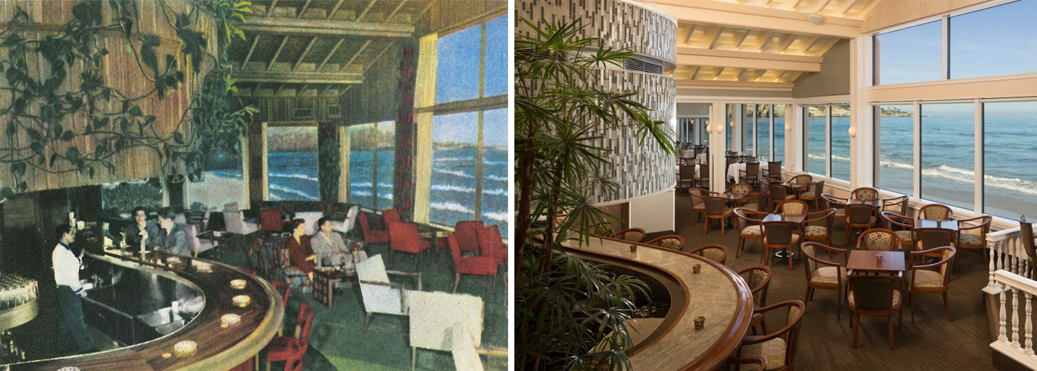 The Marine Room Lounge, in 1950 and in 2015.