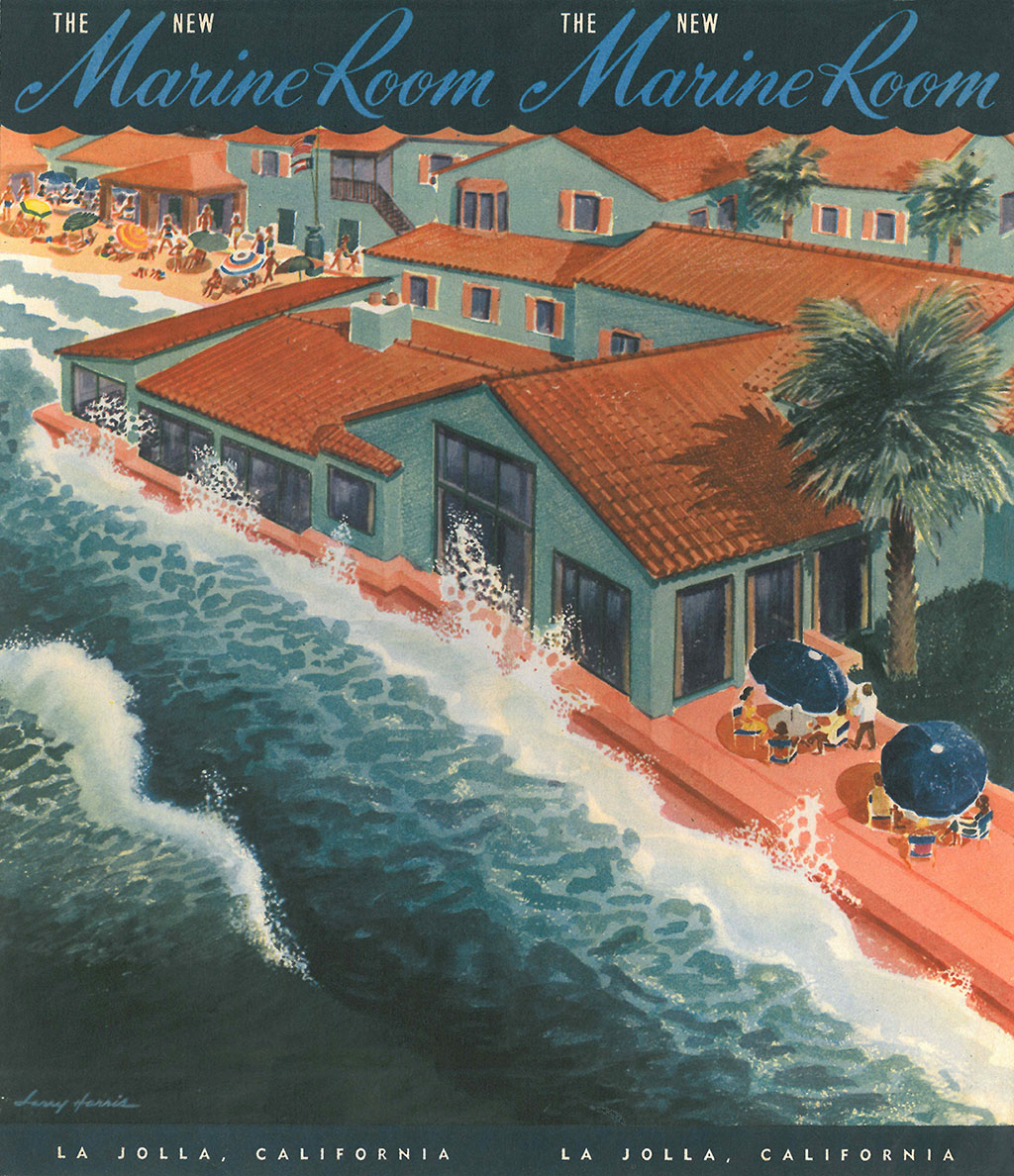 "Brochure cover art for the ""New Marine Room,"" 1949"