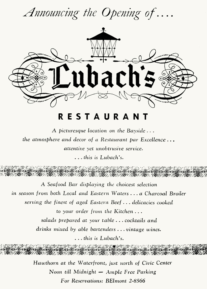 1956 Lubach's opening ad