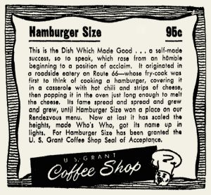 US Grant Coffee Shop hamburger size ad