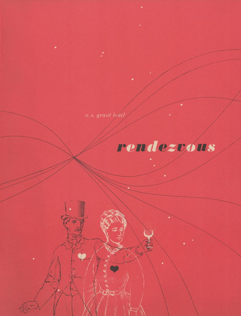Rendezvous menu cover, c1956