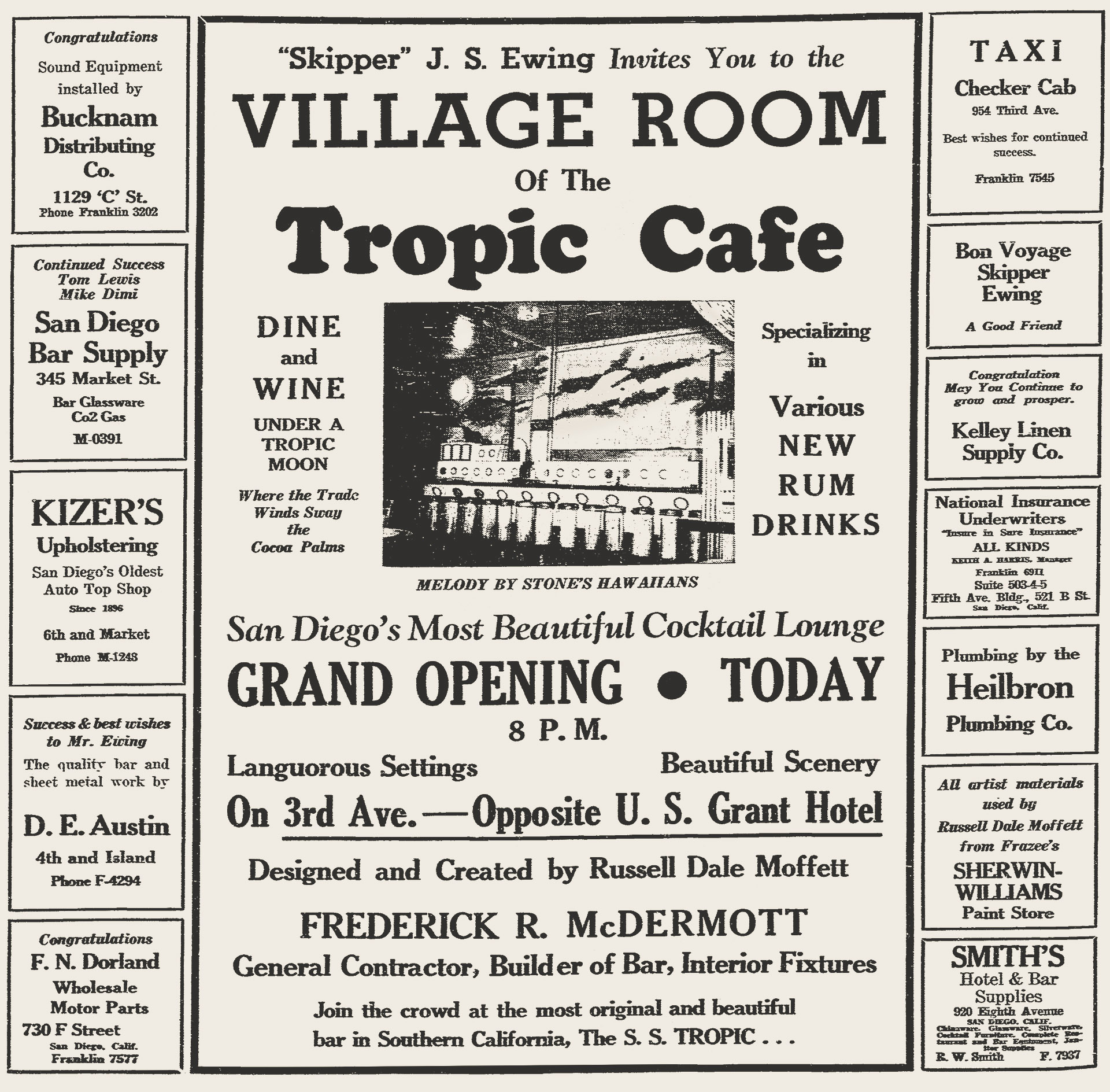 Tropic Cafe newspaper ad, 1937