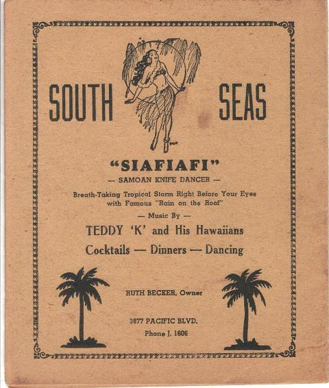 1940 San Diego Nite Life - South Seas ad