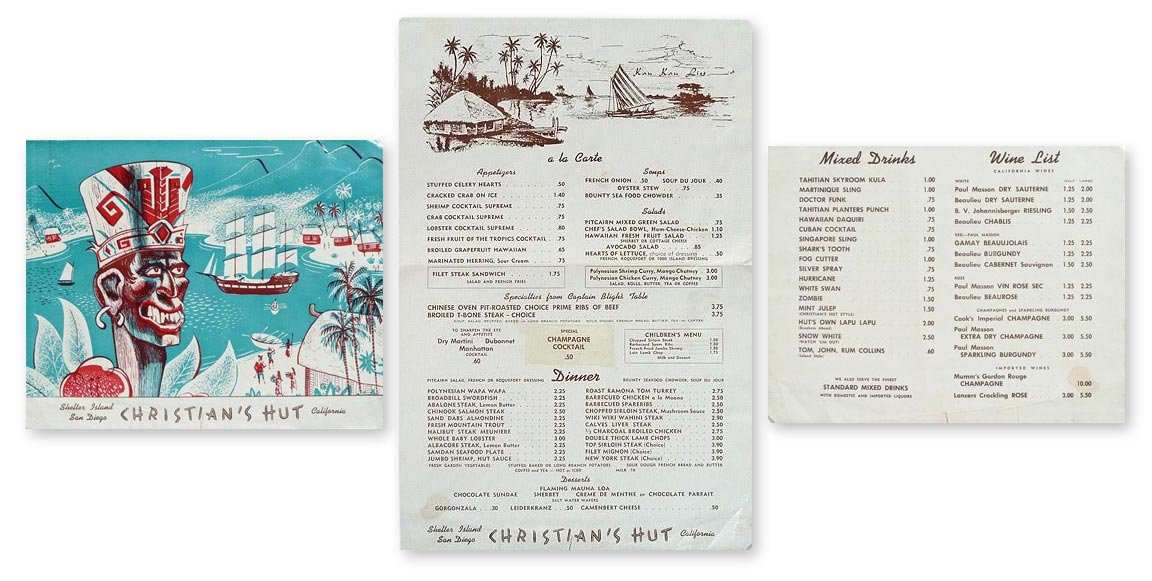 1953 Christian's Hut menu