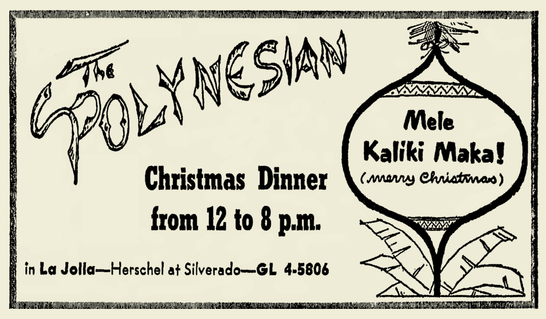 The Polynesian Christmas ad, 1954