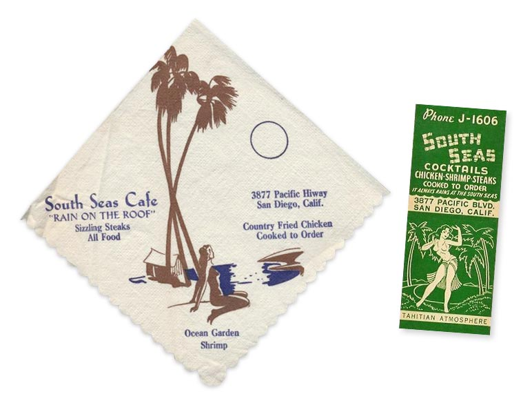 South Seas cocktail napkin and matches