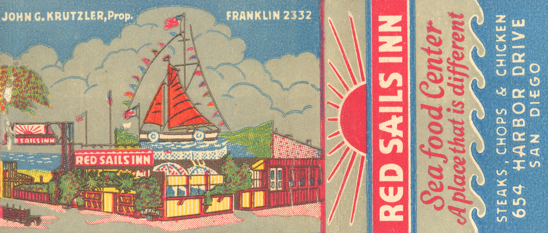 Red Sails Inn matchbook, c1943