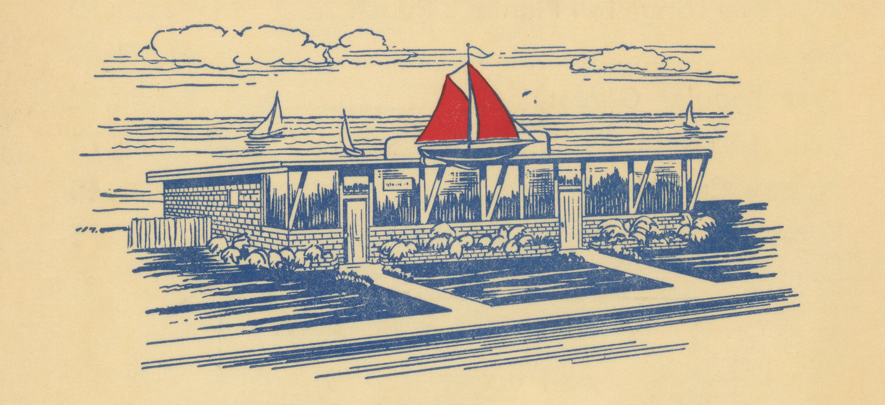 Red Sails Inn menu illustration, c1957