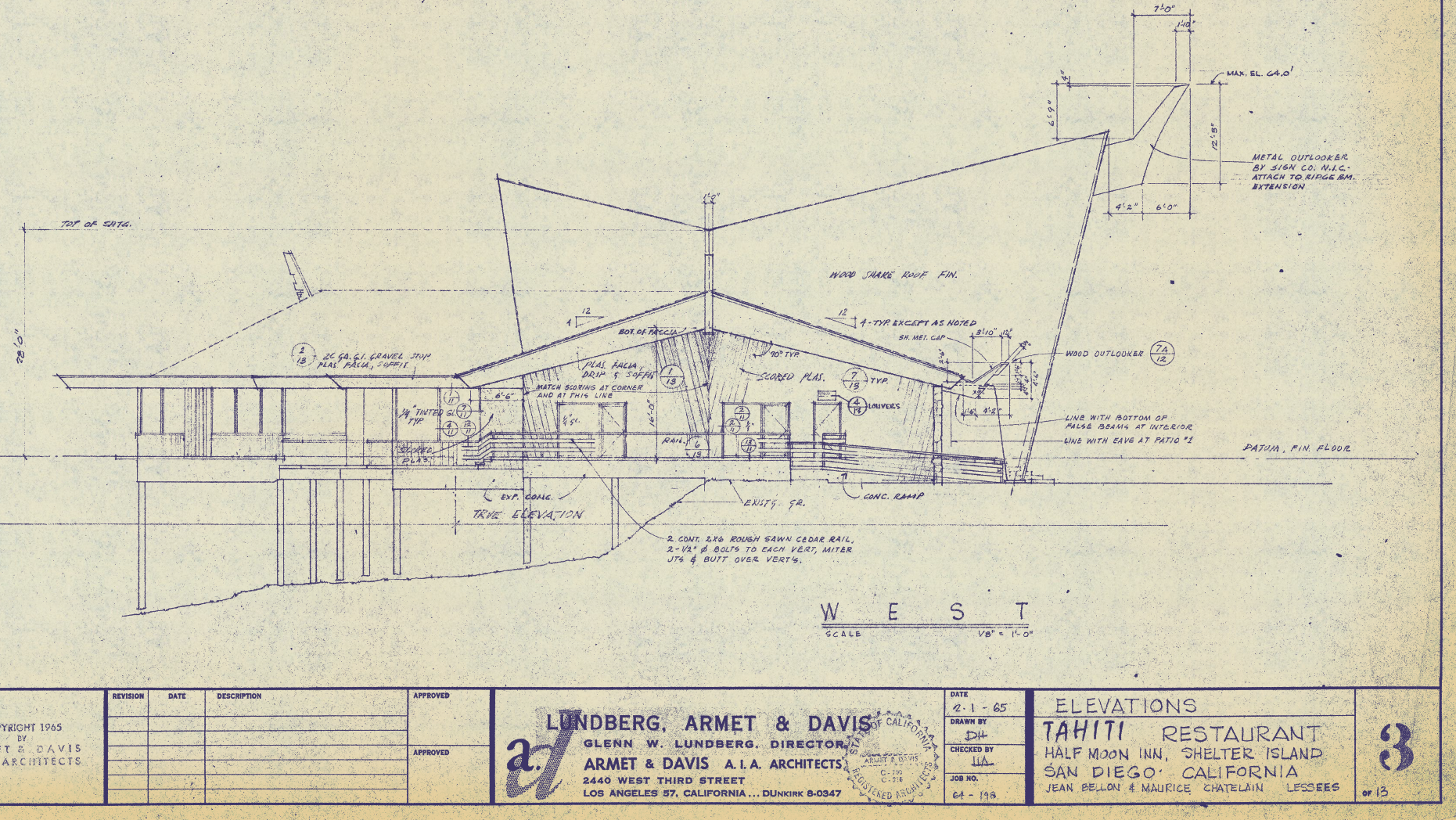 Tahiti Restaurant blueprints, 1965