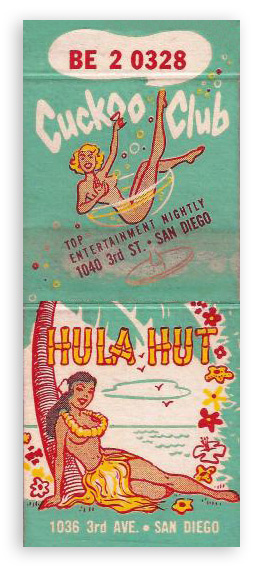 Hula Hut Cuckoo Club matchbook