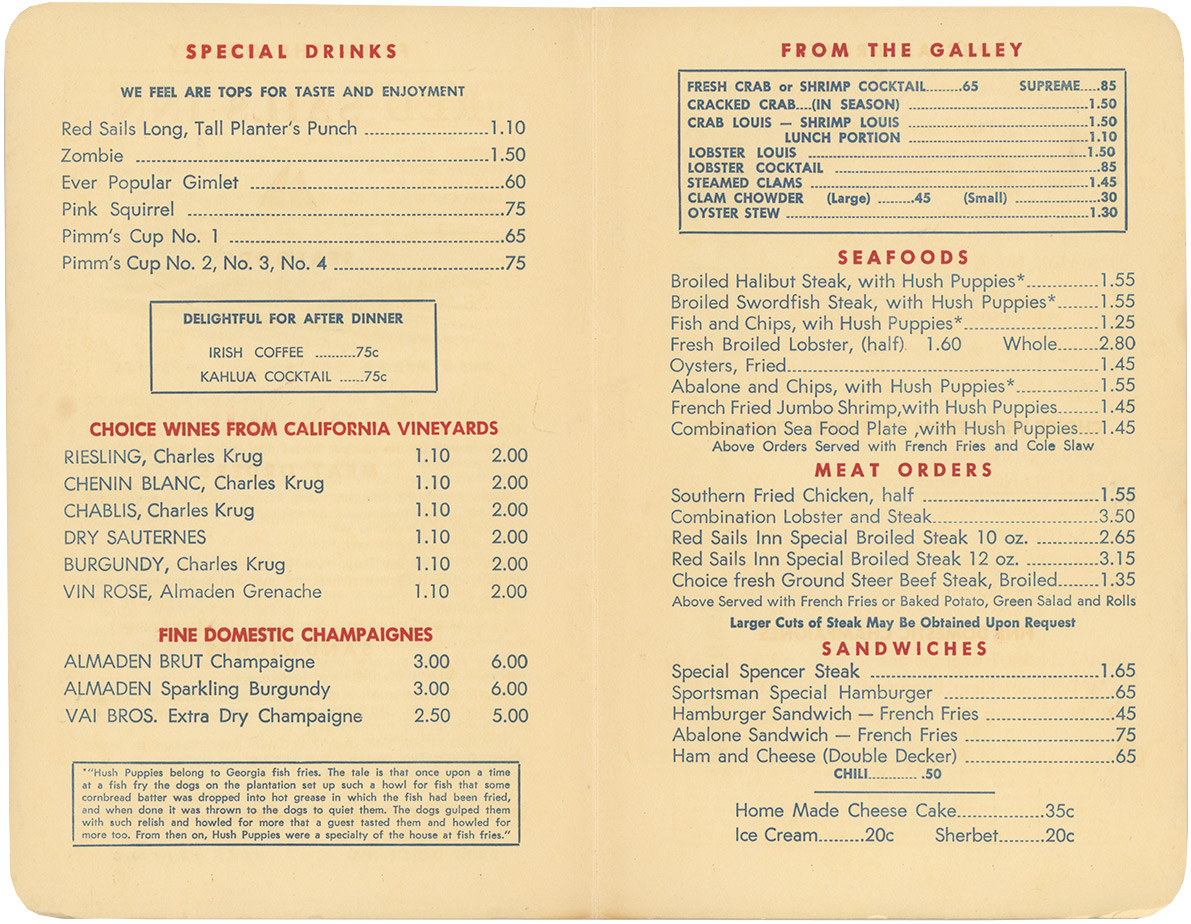 Red Sails Inn menu, 1959