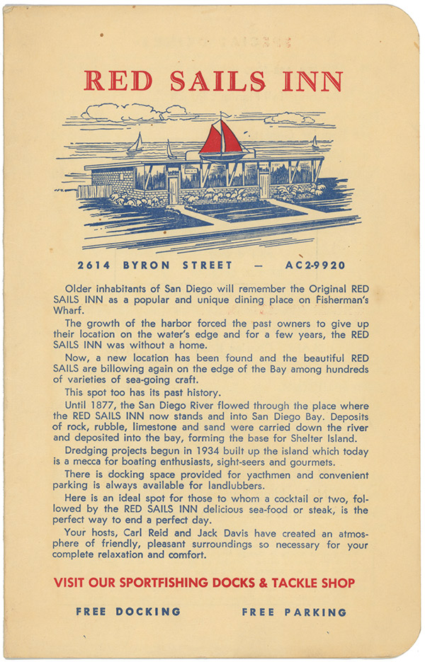 Red Sails Inn menu cover, 1959