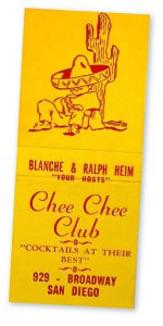 Chee-Chee Club san diego matchbook