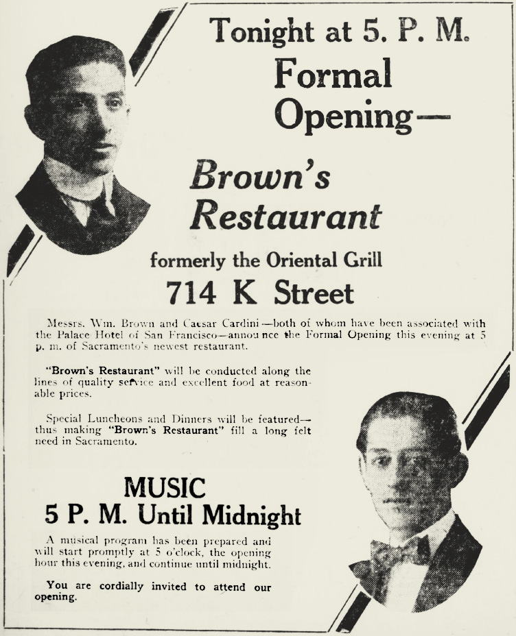 Brown's Restaurant, Caesar Cardini
