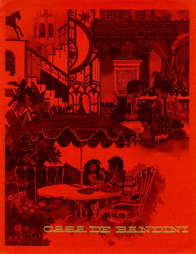 1980s Casa de Bandini menu