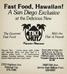 Tiki Hut Restaurants, San Diego