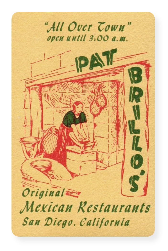 Pat Brillos advertising card
