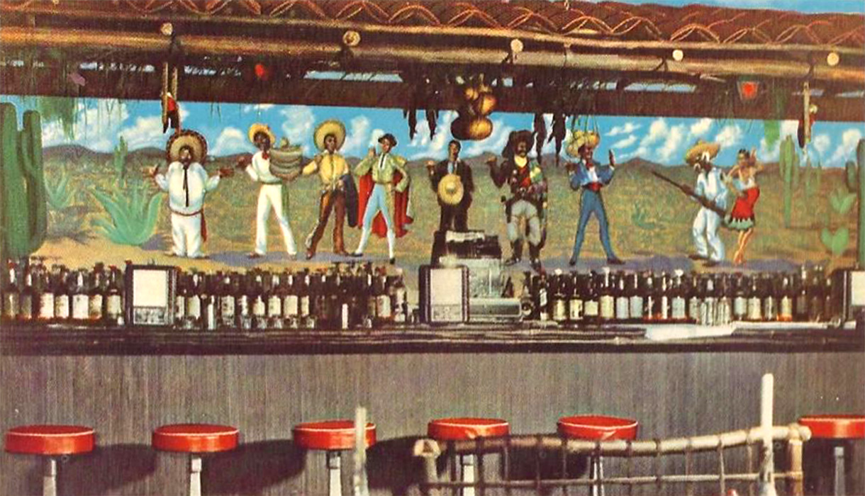 Mexican Village Restaurant cantina, 1960s