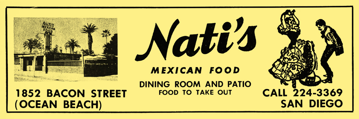 Nati's restaurant yellow pages ad, 1965