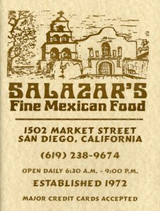 Salazar's Fine Mexican Food menu