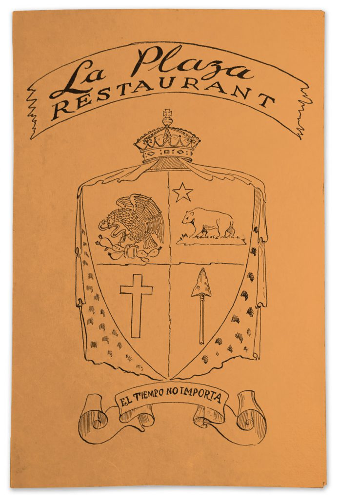 1947 La Plaza Restaurant La Jolla menu cover