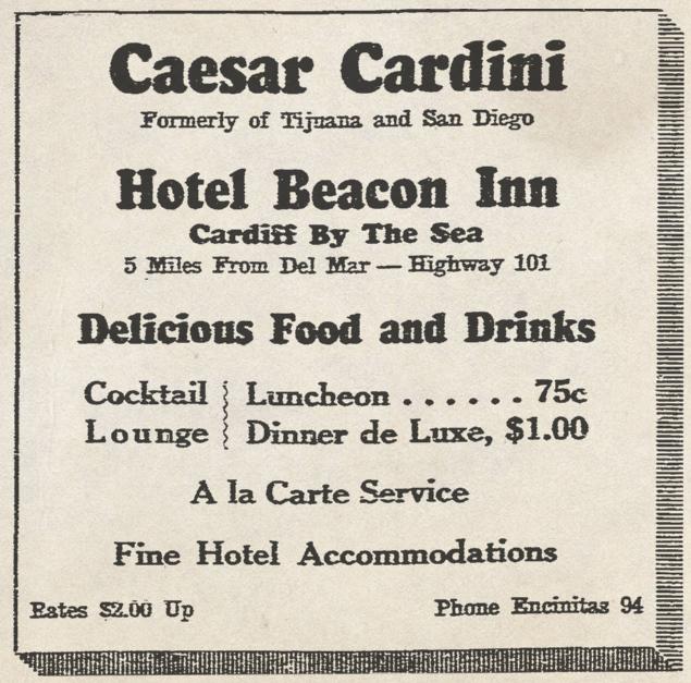 Caesar Cardini Hotel Beacon Inn ad