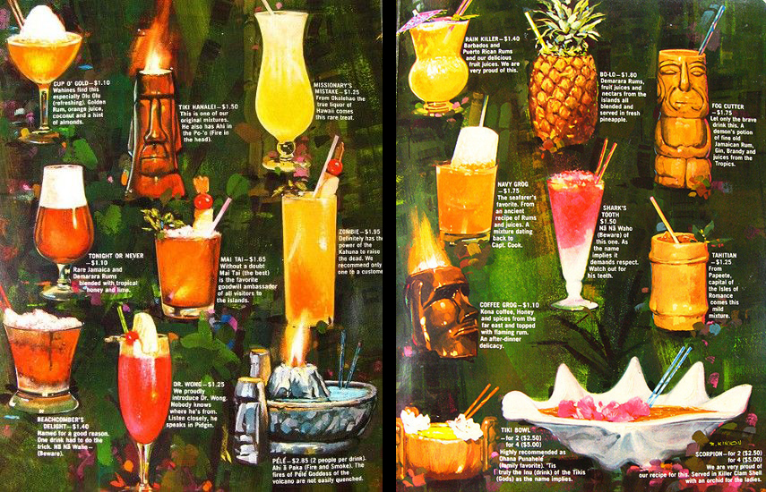 Islands Restaurant cocktail menu 1960s