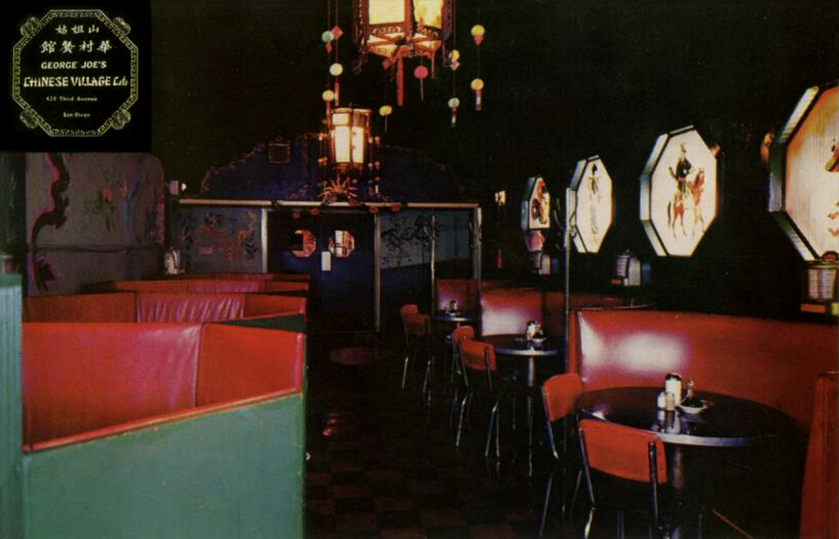 George Joe's Chinese Village interior, c1962