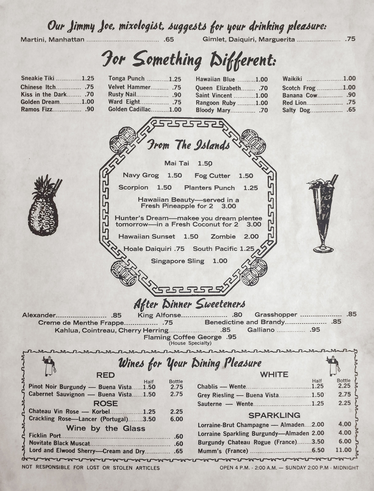 George Joes drink menu