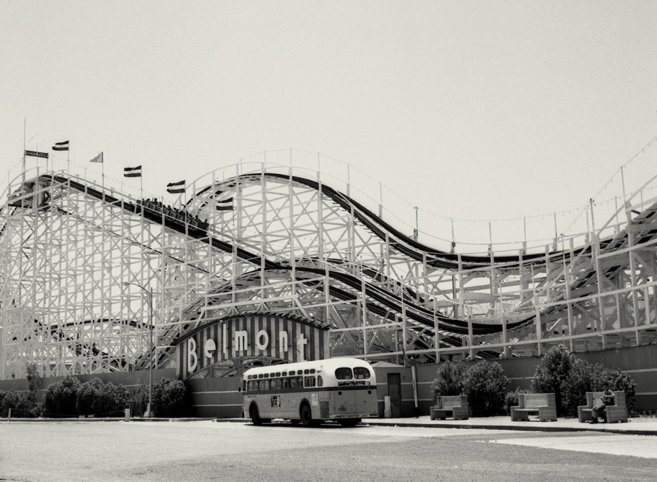 The Earthquake roller coaster, Belmont Park, in 1966