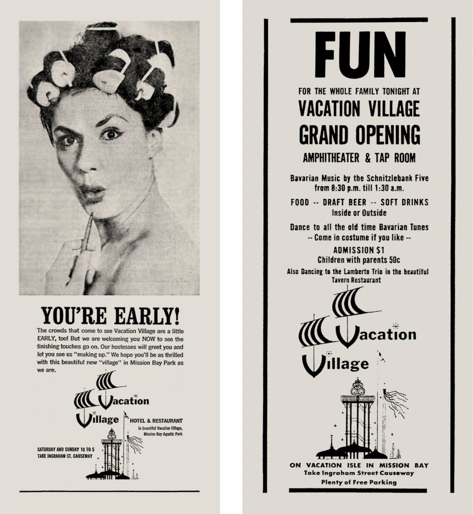 Teaser ad and Grand Opening ad for Vacation Village, 1962