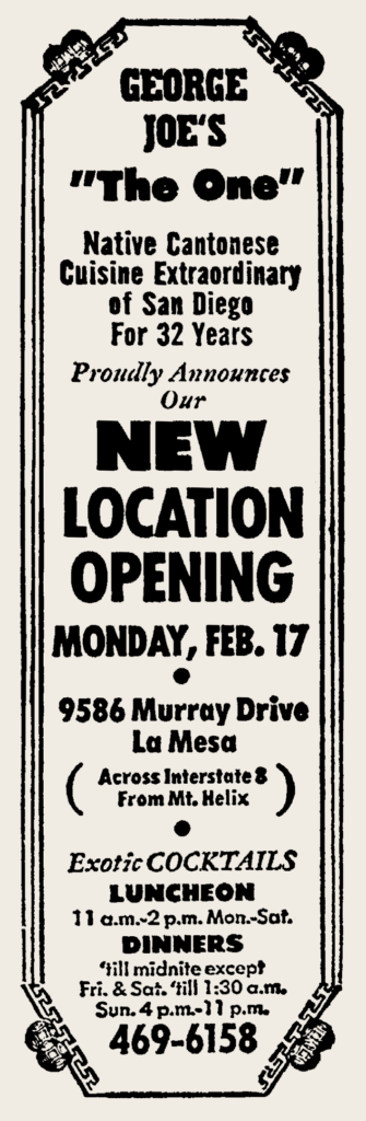 1969 02 15 George Joes La Mesa opening ad